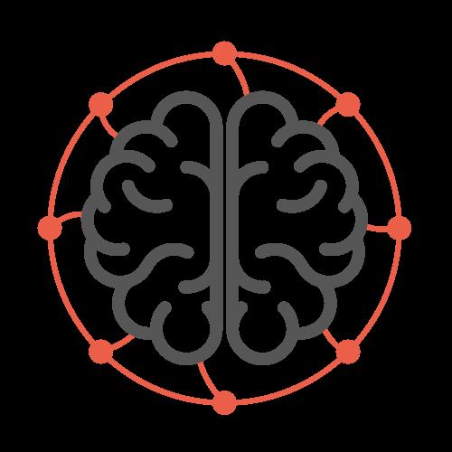Icône de cerveau et ses connexions sensorielles